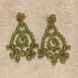 J. Crew green beaded chandelier earrings